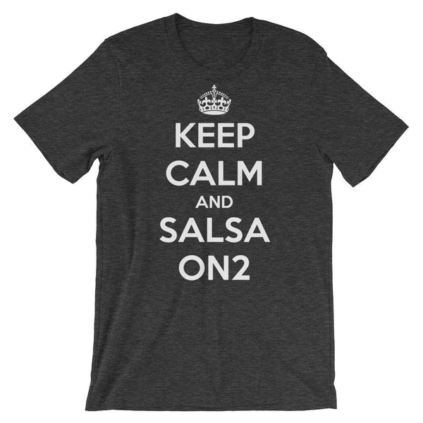 Keep Calm and Salsa On 2 - Men's T-Shirt (Dark Grey Heather)