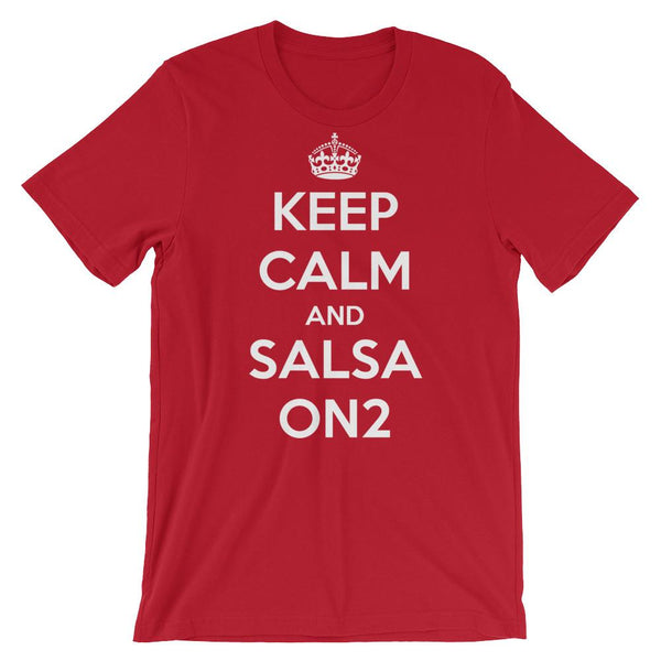 Keep Calm and Salsa On 2 - Men's T-Shirt (Red)
