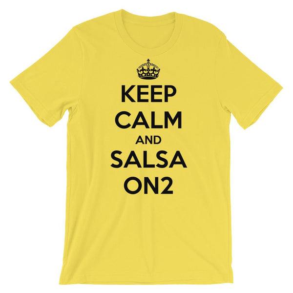 Keep Calm and Salsa On 2 - Men's T-Shirt (Yellow)