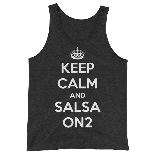 Keep Calm and Salsa On 2 - Men's Tank Top (Charcoal-black Triblend)
