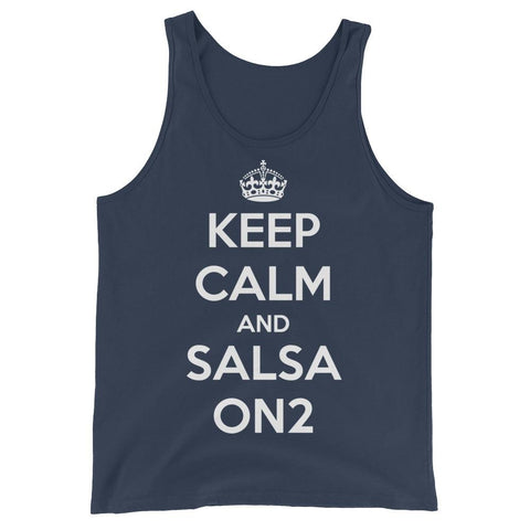 Keep Calm and Salsa On 2 - Men's Tank Top (Navy)