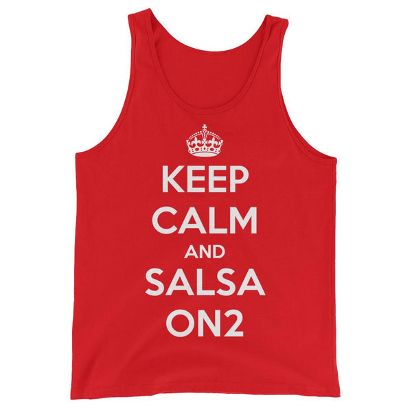 Keep Calm and Salsa On 2 - Men's Tank Top (Red)