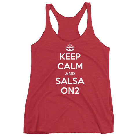 Keep Calm and Salsa On 2 - Women's Tank Top (Vintage Red)