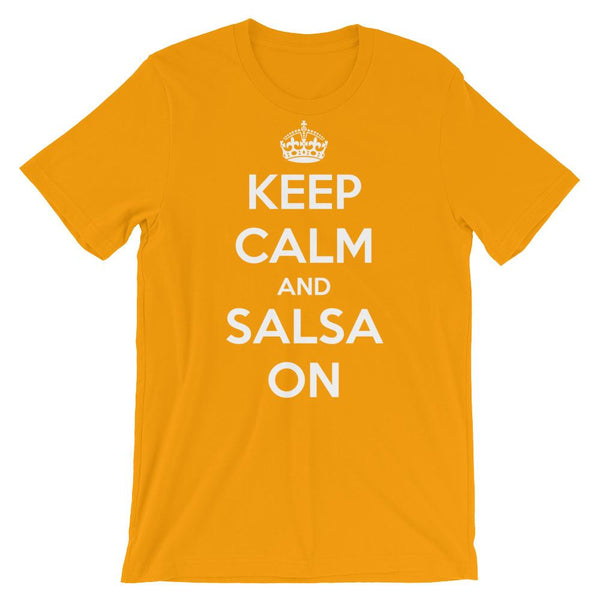 Keep Calm and Salsa On - Men's T-Shirt (Gold)