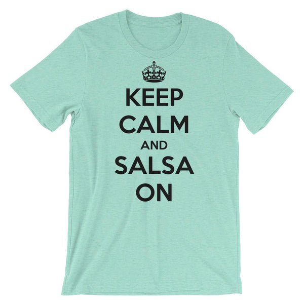 Keep Calm and Salsa On - Men's T-Shirt (Heather Mint)