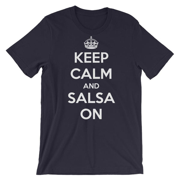 Keep Calm and Salsa On - Women's T-Shirt (Navy)