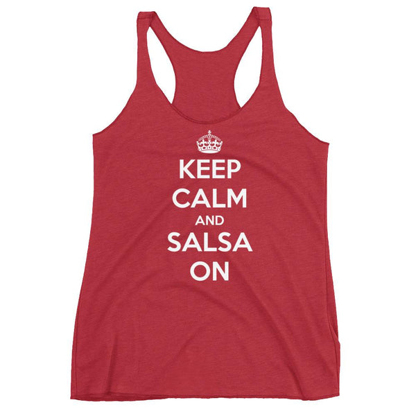 Keep Calm and Salsa On - Women's Tank Top (Vintage Red)