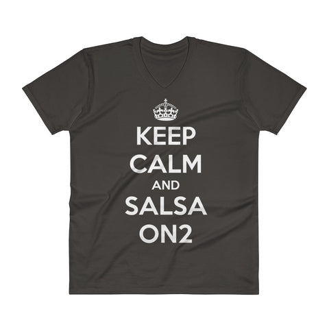 Keep Calm And Salsa On 2 - Men's V-Neck T-Shirt