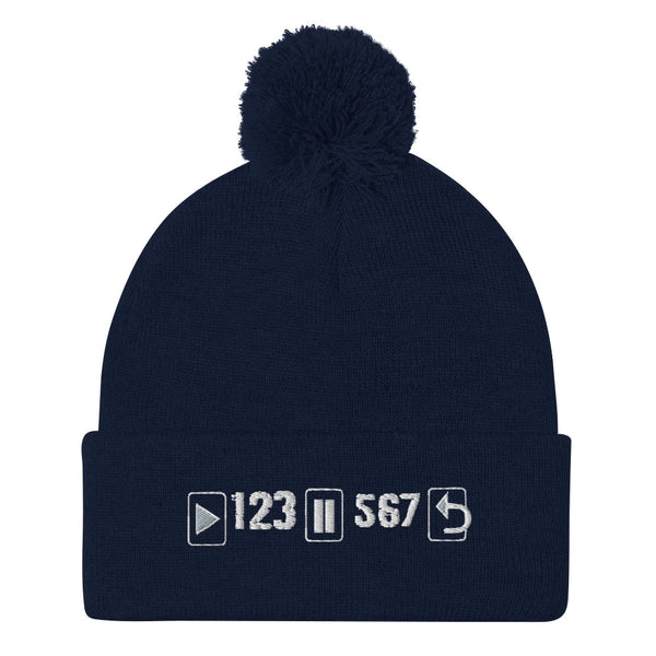 Play Pause Repeat- Pom-Pom Beanie