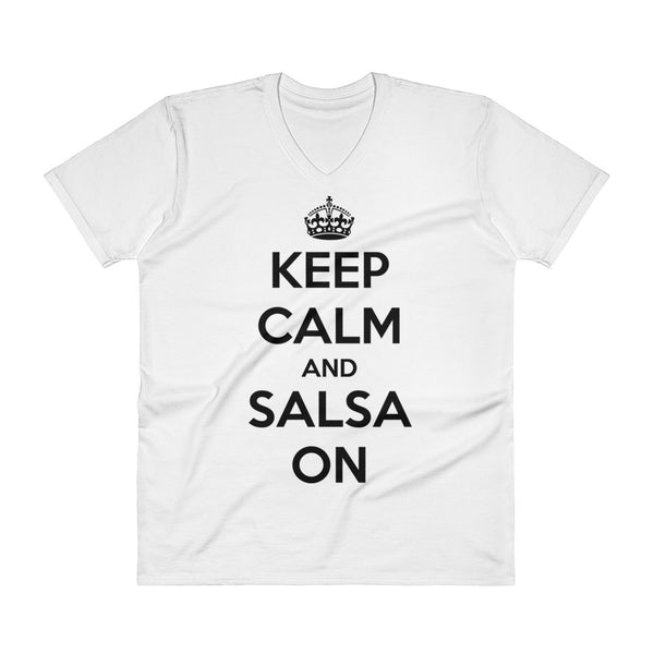Keep Calm And Salsa On - Men's V-Neck T-Shirt