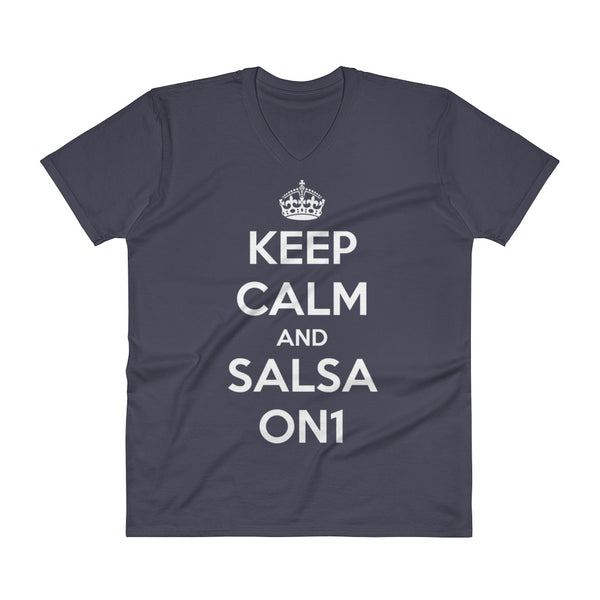 Keep Calm And Salsa On 1 - Men's V-Neck T-Shirt