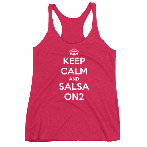 Keep Calm and Salsa On 2 - Women's Salsa Dancing Tank Top