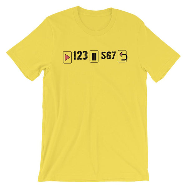 Play Pause Repeat - Men's T-Shirt (Yellow)