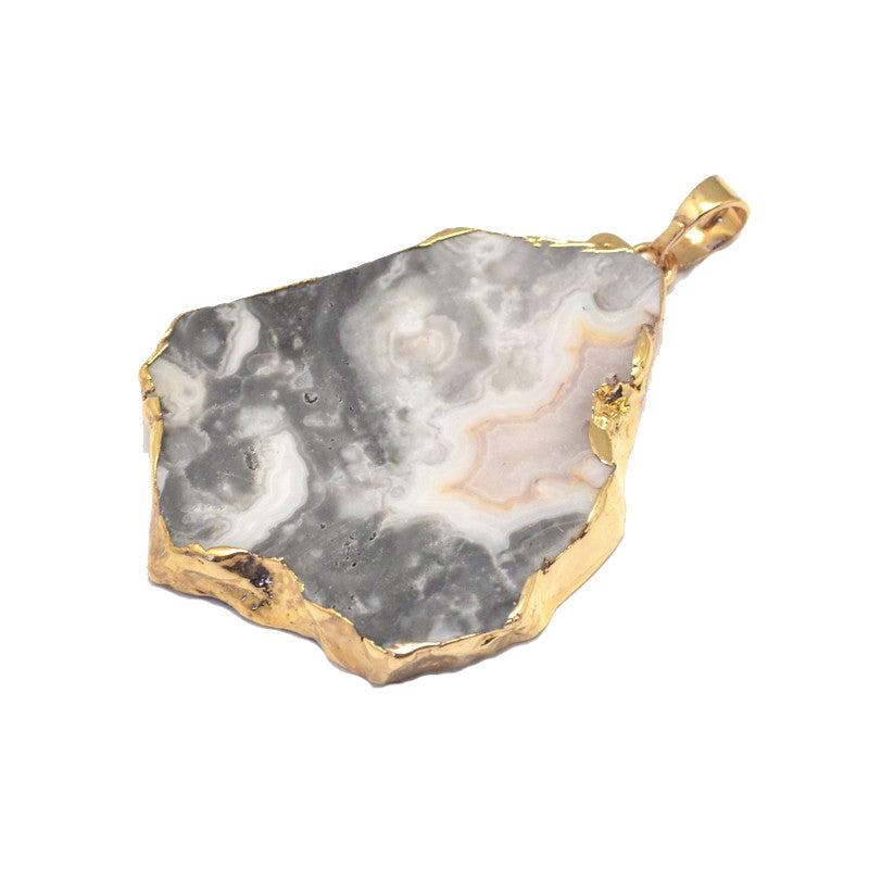 Marble Gold and Agate pendant