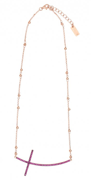 Gregio Jewellery Gold Pink Zircon Side Cross necklace