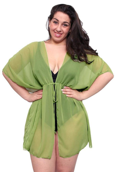 Plus Size Chiffon Open Front Swimwear Cover-up Beach Dress Made in the USA