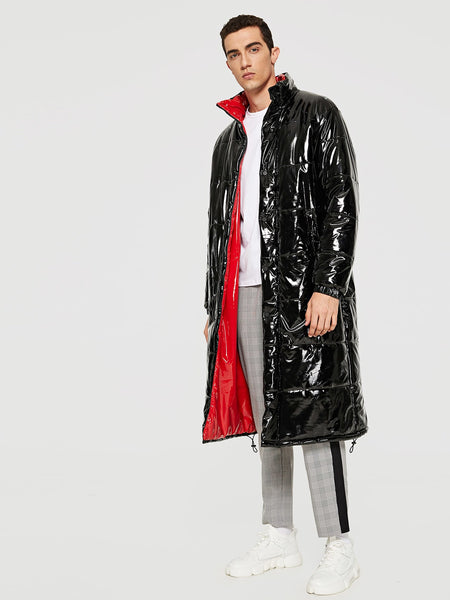Men Zip and Button Up PU Coat
