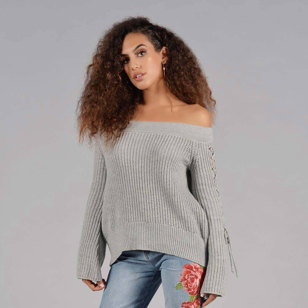 Knit Sweater w/ Lace Up Sleeves (Heather Grey)