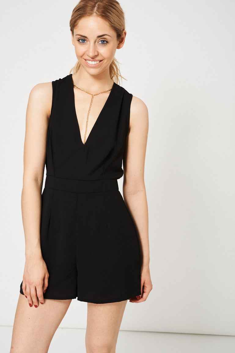 Necklace Detail Playsuit In Black