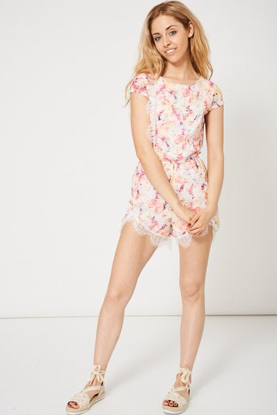 Floral Pattern Playsuit With Lace Insert