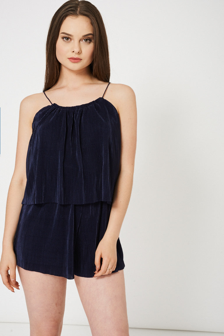 Navy Pleated Playsuit