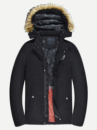 Men Patched Detail Detachable Hooded Coat