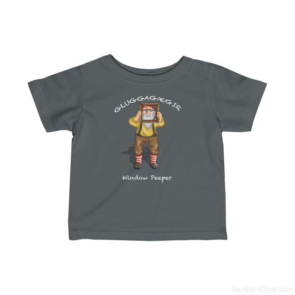 Gluggagægir - Window Peeper - Infant Tee - Santa Claus-Kids clothes-Reykjavik Shop