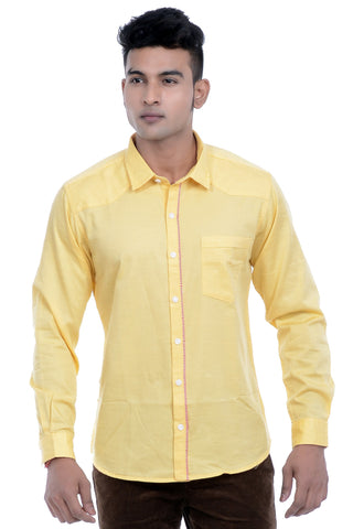 MOUSTACHE - SLIM FIT COTTON MEN'S SHIRT - BLUE/YELLOW