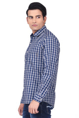 MOUSTACHE - SLIM FIT COTTON MEN'S SHIRT - NAVY/WHITE
