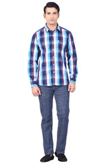 MOUSTACHE - SLIM FIT COTTON MEN'S SHIRT - BLUE/RED/TURQUIES