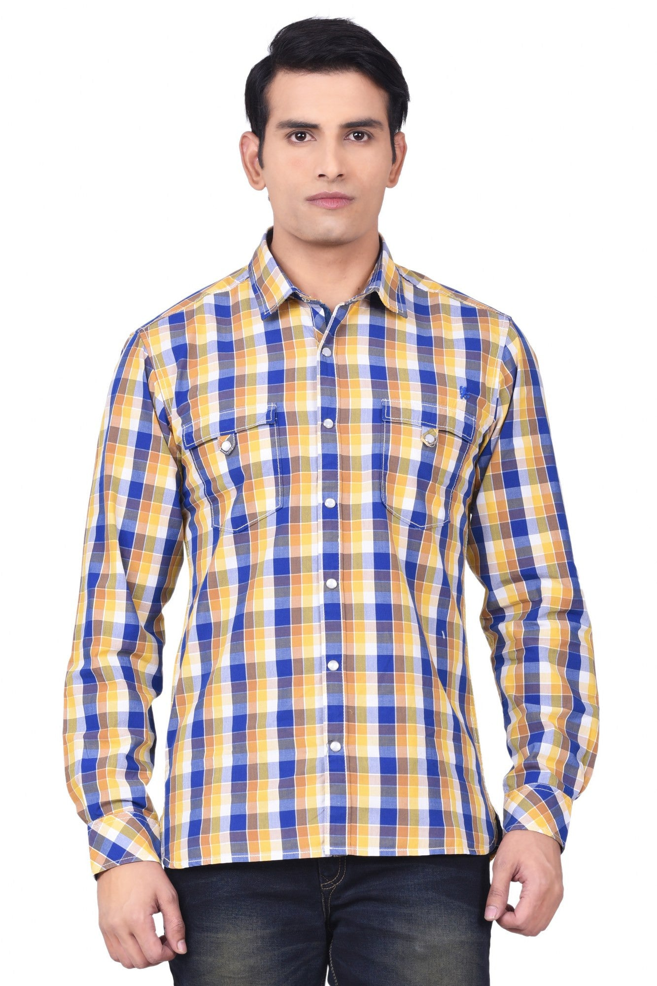 MOUSTACHE - SLIM FIT COTTON MEN'S SHIRT - YELLOW/BLUE