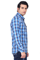 MOUSTACHE - SLIM FIT COTTON MEN'S SHIRT - BLUE/H/WHITE