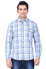 MOUSTACHE - SLIM FIT COTTON MEN'S SHIRT - WHITE/BLUE