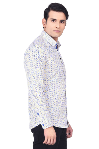 MOUSTACHE - SLIM FIT COTTON MEN'S PRINT SHIRT - WHITE/BLUE