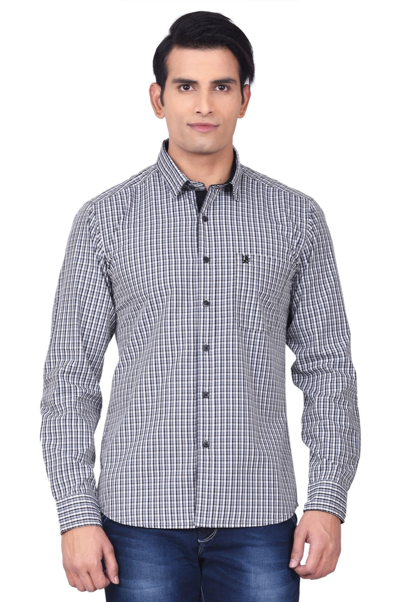 MOUSTACHE - SLIM FIT COTTON MEN'S SHIRT - BLACK/WHITE/GREY