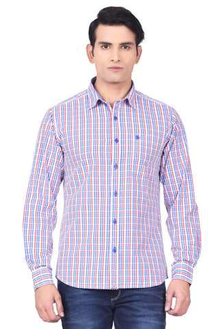 Moustache Slim Fit Mens Shirt-Blue
