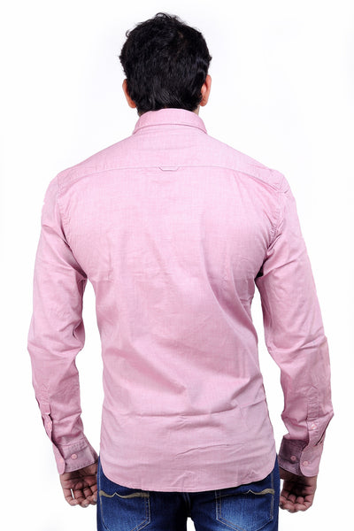 Moustache Slim Fit Cotton Men Shirt - Pink