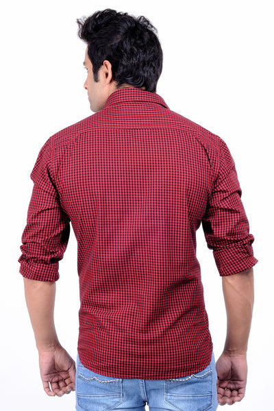 Moustache - Slim fit  Cotton Men Shirt - Red-Black