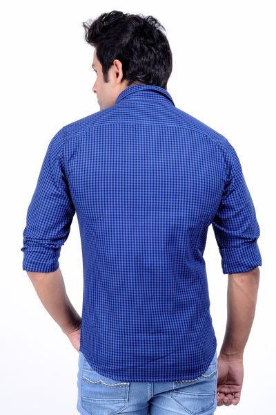 Moustache -Slim fit Cotton Men Shirt - Black blue