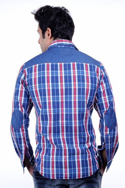 Moustache-Slim fit Cotton Men Shirt -Blue white chx.