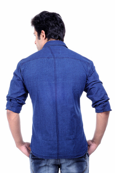 Moustache - Slim fit Cotton Men Shirt - Silk denim