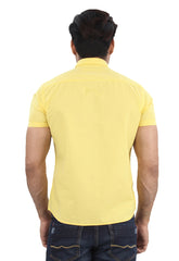 Moustache Slim Fit Mens Shirt-Yellow