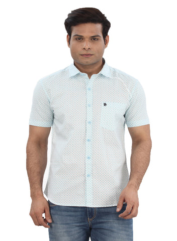Moustache Slim Fit Mens Shirt-Light Blue