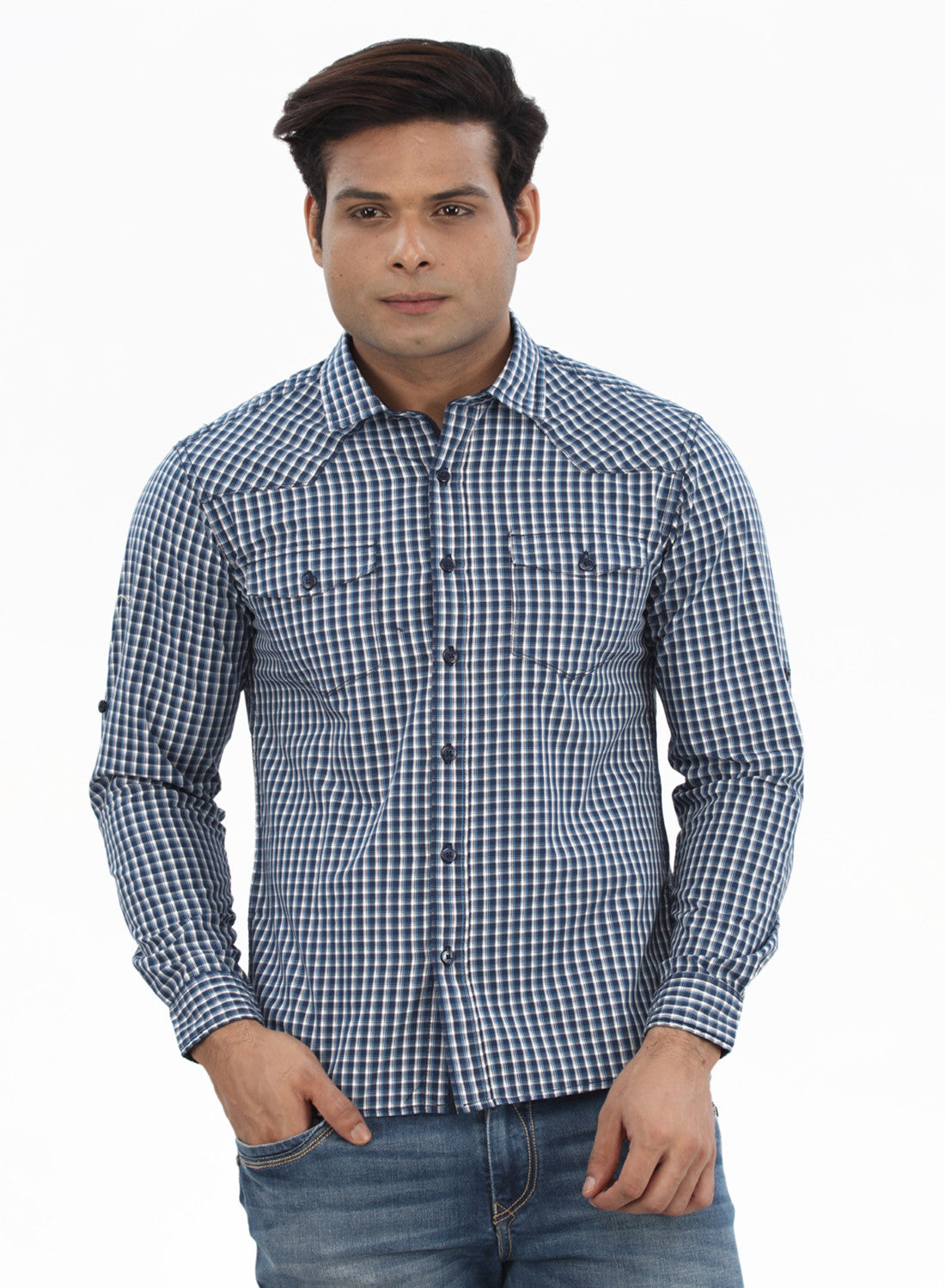 Moustache Slim Fit Mens Shirt-Blue White