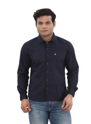 Moustache Slim Fit Mens Shirt-Navy