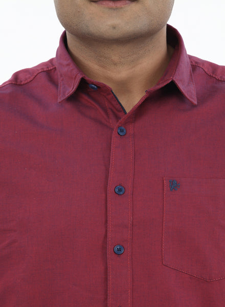 Moustache Slim Fit Mens Shirt-Maroon