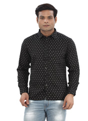 Moustache Slim Fit Mens Shirt-Black