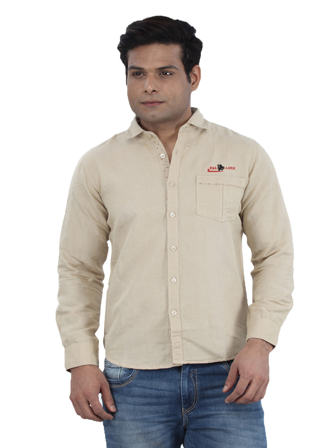 Moustache Slim Fit Mens Shirt-Beige