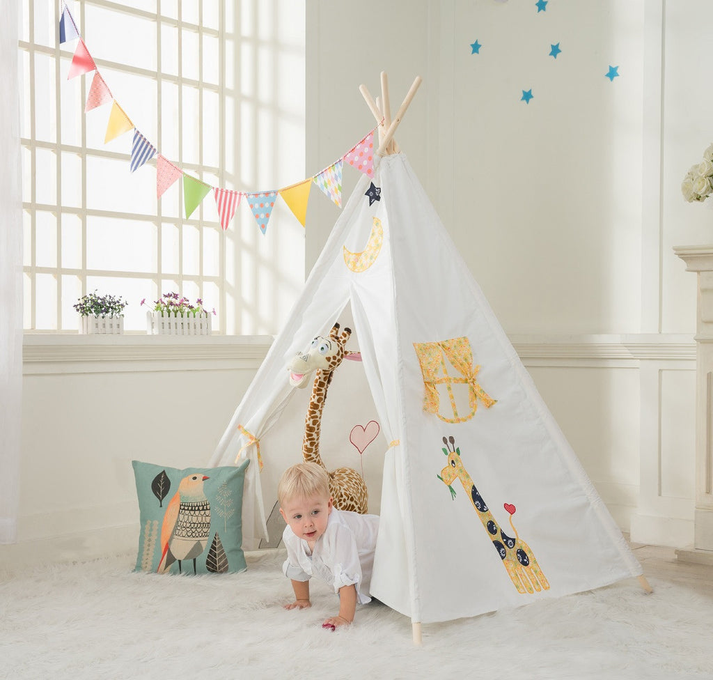 Kids Teepee tent for kids play tent tipi tent indian tent & Dalosdream Kids Teepee Tent Giraffe Embroidery with Window | Funnous
