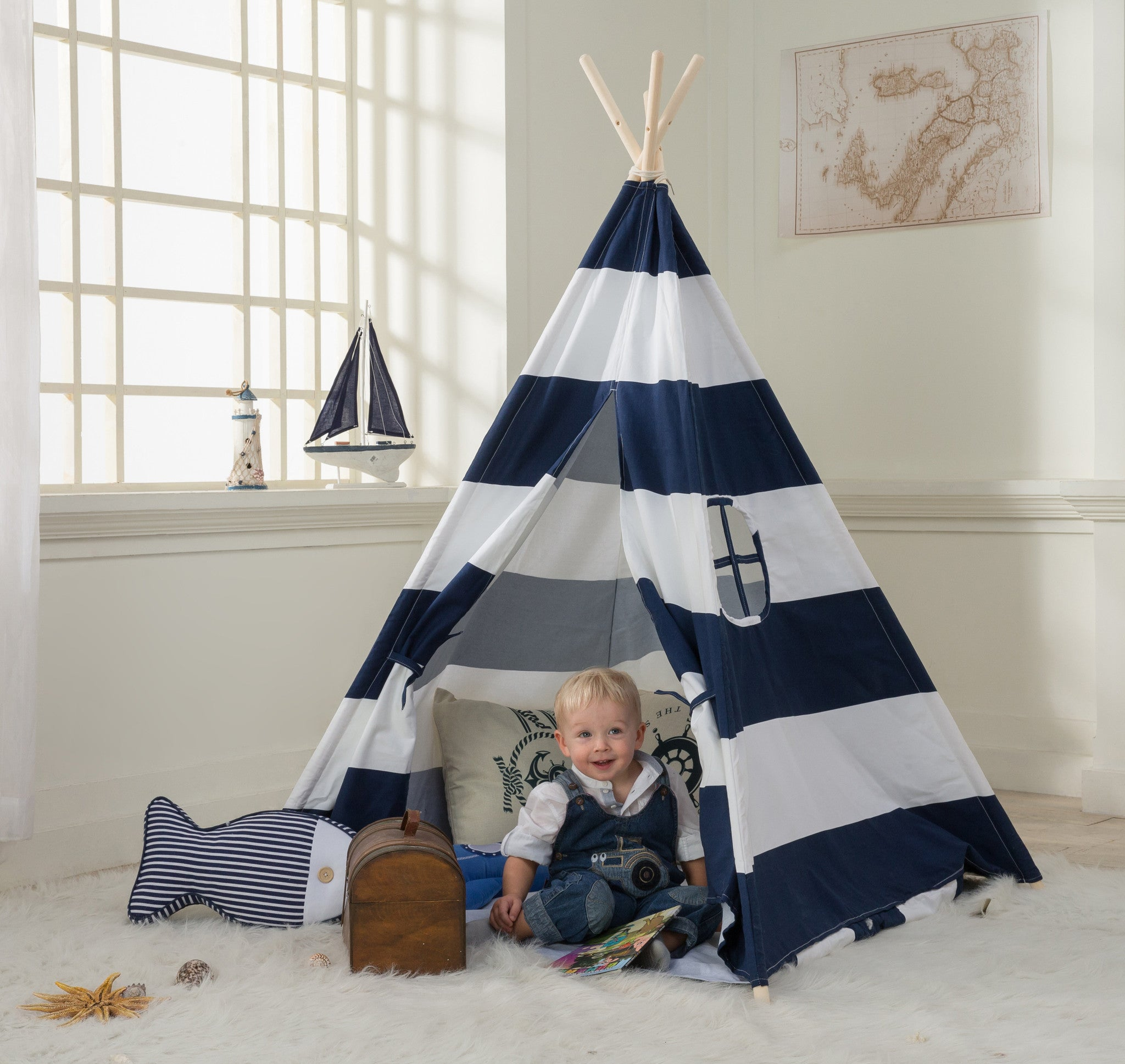 Dalosdream Kids Teepee Tent Navy Striped With Floor Mattress And
